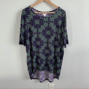 Lularoe   Irma Blue & Green Print Top 3/4 Sleeve